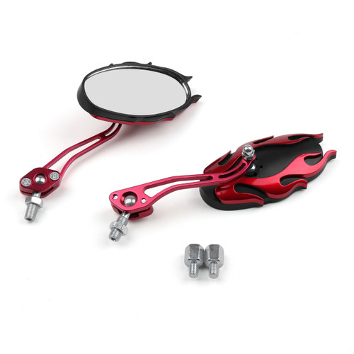 8MM 10MM Universal CNC Machined Mirrors Oval Flame Red