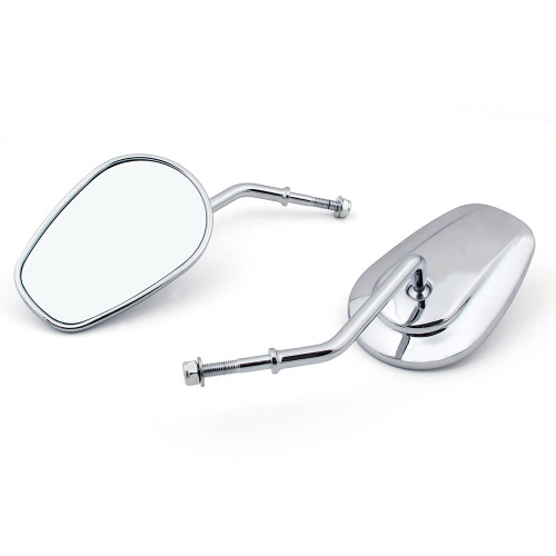 Tapered Mirrors Long Stem Harley Davidson VRSC Touring Sportster Softail Dyna FXR Chrome