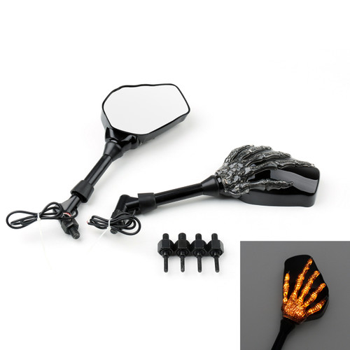 Skeleton Hand Arm Mirrors LED Indicator Turn Signals Honda Kawasaki Suzuki Cruiser Chopper 10mm Black Universal Fit
