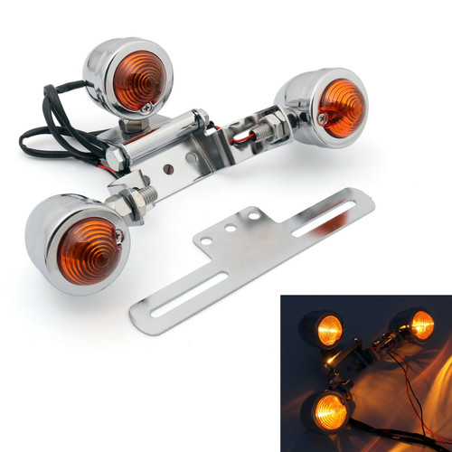 License Plate Tail light Indicator Turn signal Mount Universal Fit Custom Chopper Harley, Chrome