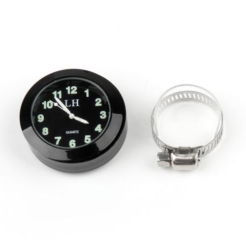 "Universal 7/8"" to 1"" Motorcycle Handlebar Bar Mount Clock Watch for Cruiser, Black"