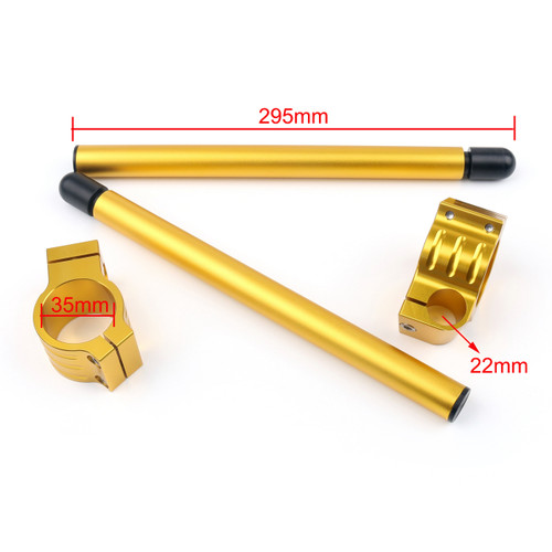 35mm Clip-On Handlebars Universal Motoycycle CBR VTR GSX GSXR SV ZX Mille R6 R1, Gold