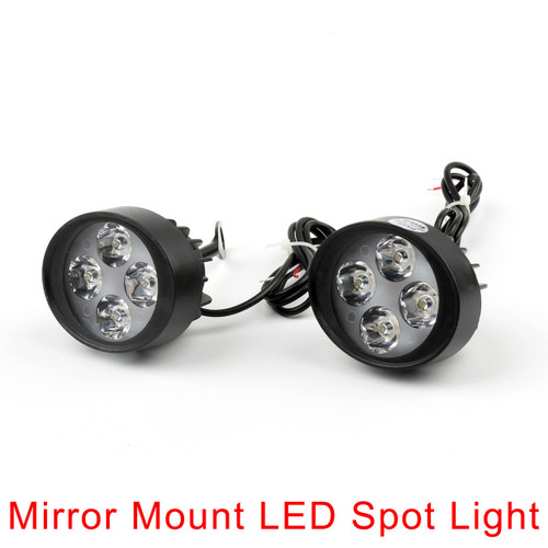 4 LED Motorcycle Mirror Mount LED Driving Fog Spot Light Spotlight Harley