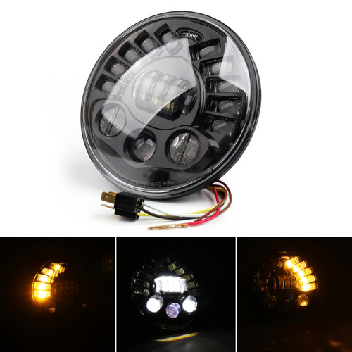 "7"" Motorcycle LED Projector Adaptive Headlight For BMW R Nine T 14-18 Black"