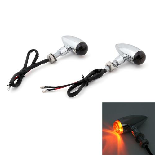 Bullet Turn Signal Lights Indicators Cruiser Chopper Harley Softail Dyna Sportster V-Rod, 10mm Universal Mount, Chrome Smoke