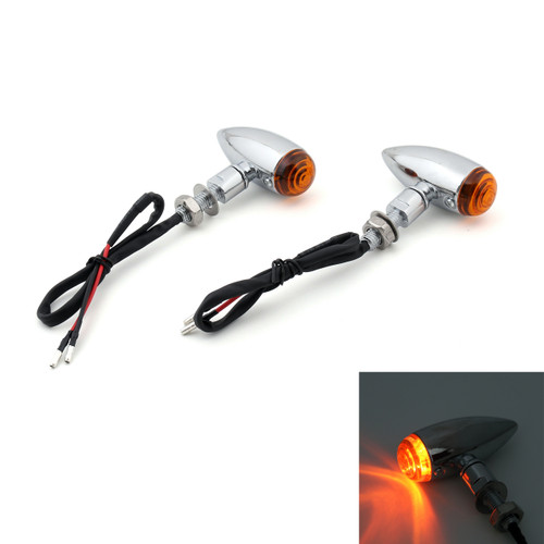 Bullet Turn Signal Lights Indicators Cruiser Chopper Harley Softail Dyna Sportster V-Rod, 10mm Universal Mount, Chrome Amber