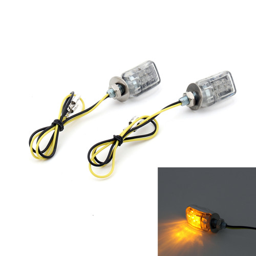 LED Micro Mini Small Indicators Turn Signals Universal 6mm Mount, Chrome
