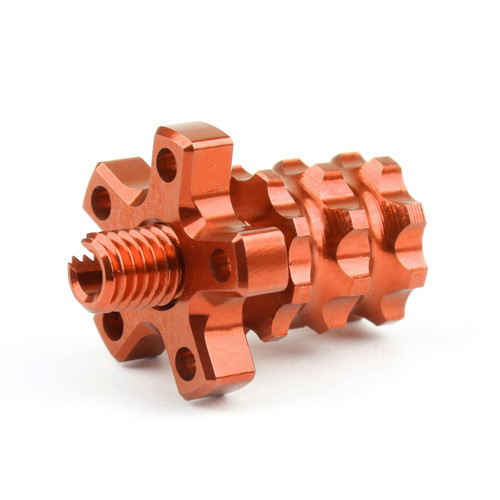 Universal 8mm Anodized Billet Aluminum Clutch Cable Adjuster Set, Orange