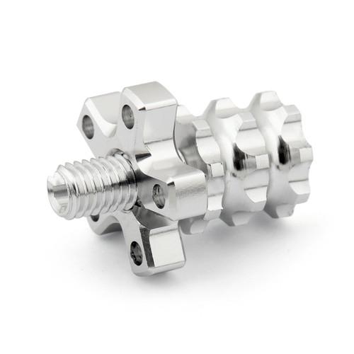 Universal 8mm Anodized Billet Aluminum Clutch Cable Adjuster Set, Silver