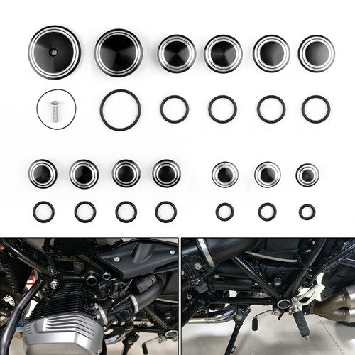 Motorcycle Frame Hole Caps Frame Cap Set BMW R1200 R NINE T (2014-2016), Black