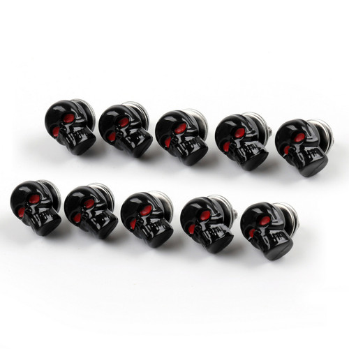 Skull License Plate Windshield Windscreen Bolts Screw, 10 Pcs. Size: M5 (5mm) Black