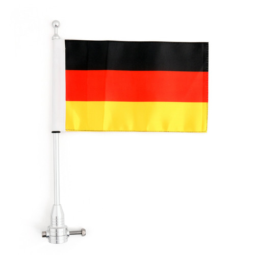 Luggage Rack Germany Flag Vertical Flag Pole For Harley Softail Iron 883, Chrome