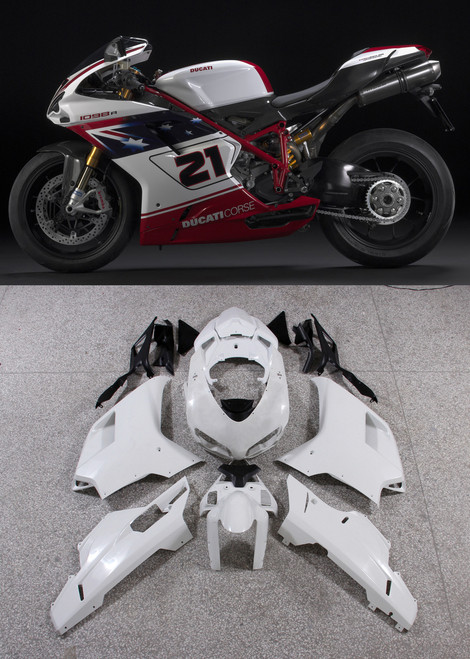 Fairings Ducati 1098 1198 848 White Red No.21 1098 Racing (2007-2011)
