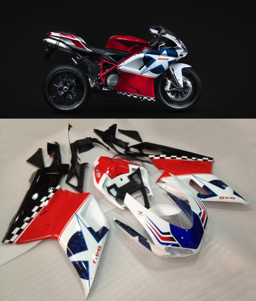 Fairings Ducati 1098 1198 848 Red White Blue Star 848 Racing (2007-2011)