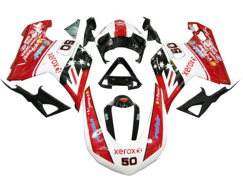 Fairings Ducati 1098 1198 848 Red & White Xerox No.50 Racing (2007-2011)