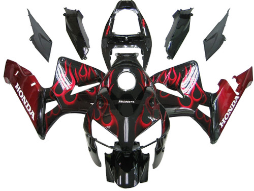 Fairings Honda CBR 600 RR Black & Red Flame CBR Racing (2005-2006)