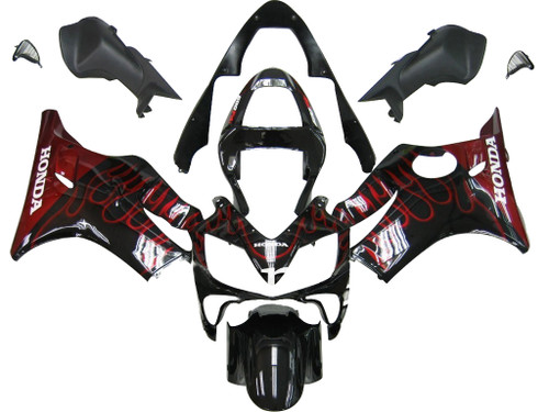 Fairings Honda CBR 600 F4i Black & Red Flame Racing (2001-2003)