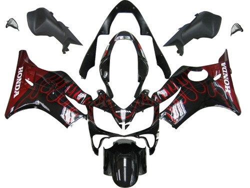 Fairings Honda CBR 600 F4i Black & Red Flame Racing (2004-2007)