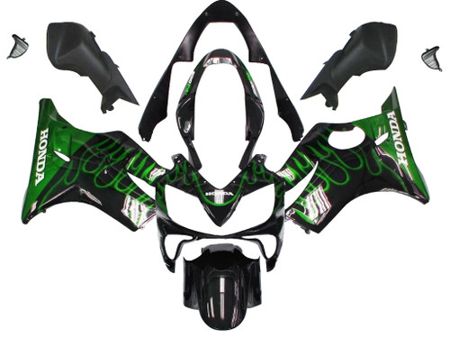 Fairings Honda CBR 600 F4i Black & Green Flame Racing (2004-2007)