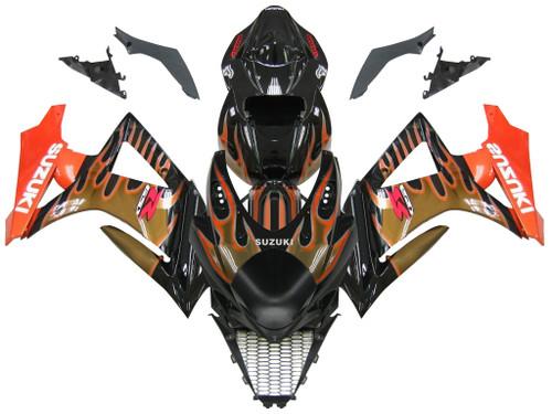 Fairings Suzuki GSXR 1000 Black & Orange Gold Flame Racing  (2007-2008)