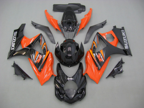 Fairings Suzuki GSXR 1000 Black & Orange GSXR Racing  (2007-2008)