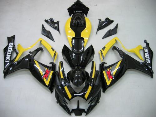 Fairings Suzuki GSXR 600 750 Black & Yellow GSXR Racing  (2006-2007)
