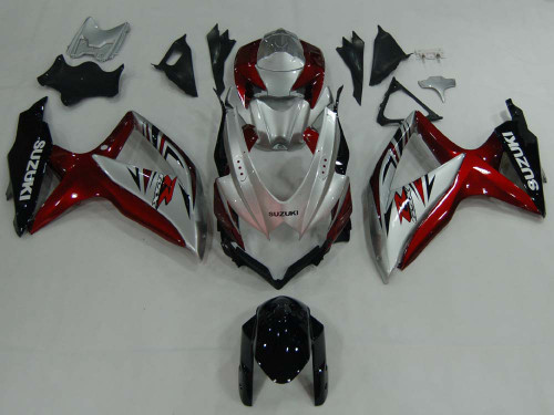 Fairings Suzuki GSXR 600 750 Silver Red GSXR Racing  (2008-2009-2010)