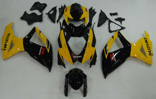 Fairings Suzuki GSXR 600 750 Black & Yellow GSXR Racing  (2008-2009-2010)