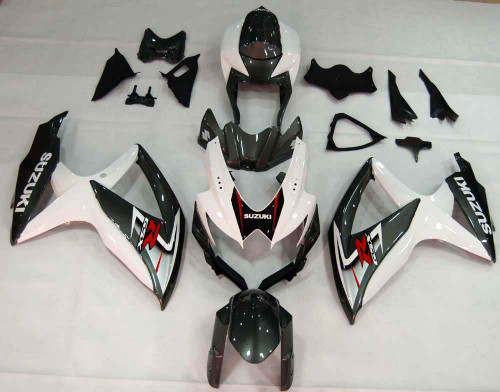 Fairings Suzuki GSXR 600 750 White & Silver GSXR Racing  (2008-2009-2010)