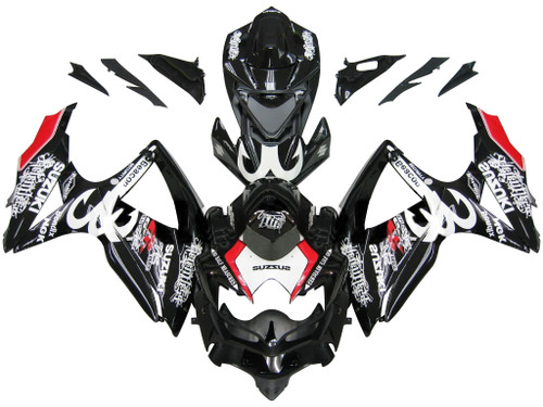Fairings Suzuki GSXR 600 750 Black Red Relentless Racing  (2008-2009-2010)