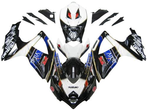 Fairings Suzuki GSXR 600 750 Black White Suzuki Racing  (2008-2009-2010)
