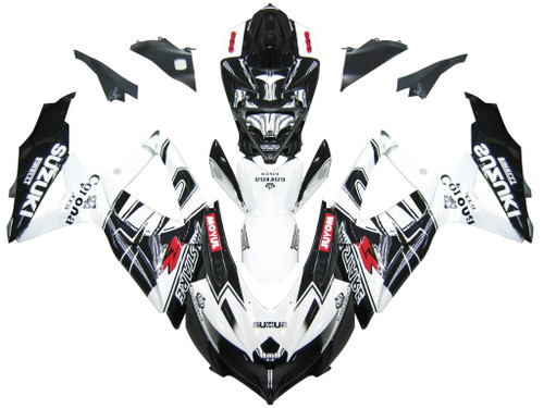 Fairings Suzuki GSXR 600 750 Black White Alstare Corona Racing  (2008-2009-2010)