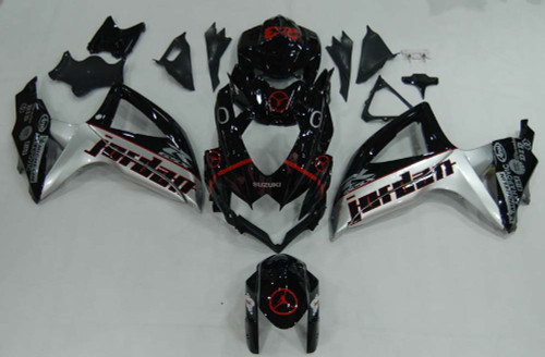 Fairings Suzuki GSXR 600 750 Black Silver Jordan Racing  (2008-2009-2010)