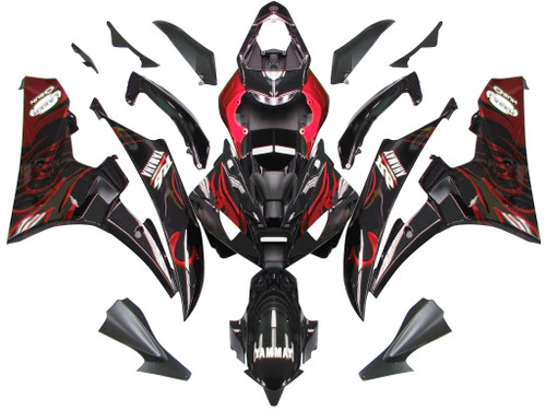 Fairings Yamaha YZF-R6 Black & Red Flame R6 Racing (2006-2007)