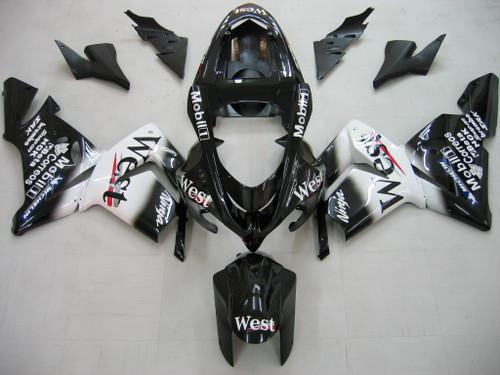 Fairings Kawasaki ZX 10R Black White West Ninja Racing (2004-2005)