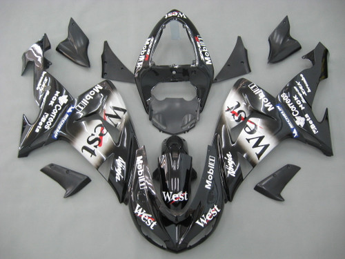 Fairings Kawasaki ZX 10R Black White West Racing (2006-2007)
