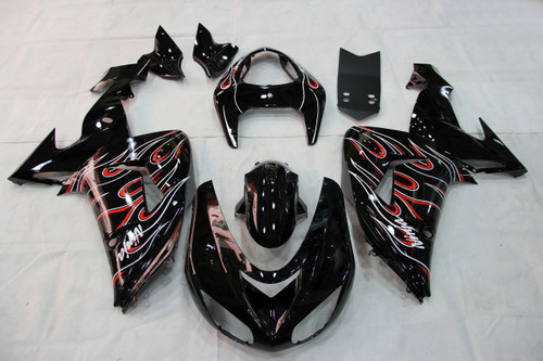 Fairings Kawasaki ZX 10R Black Red Flame Racing (2006-2007)
