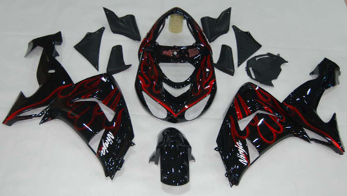 Fairings Kawasaki ZX 10R Black & Red Flame Ninja Racing (2006-2007)