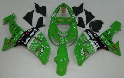 Fairings Kawasaki ZX 10R Green Black No.56 Nakano Racing (2006-2007)