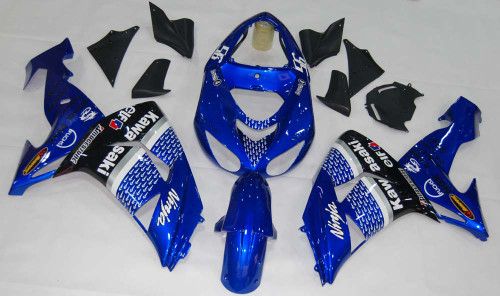 Fairings Kawasaki ZX 10R Blue Black No.56 Nakano Racing (2006-2007)