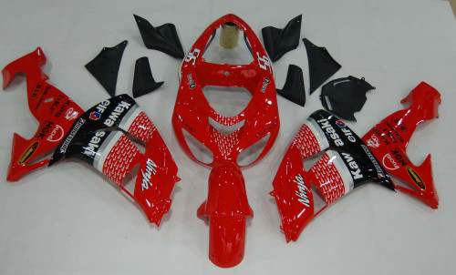 Fairings Kawasaki ZX 10R Red Black No.56 Nakano Racing (2006-2007)
