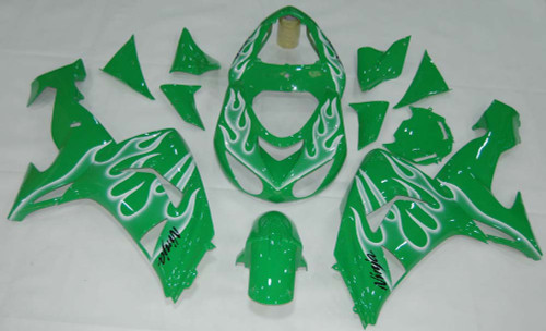Fairings Kawasaki ZX 10R Green & White Flame Ninja Racing (2006-2007)