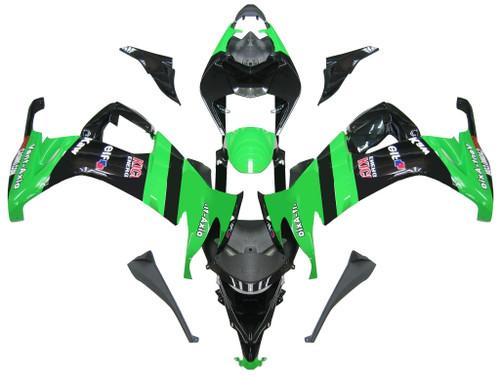 Fairings Kawasaki ZX10R Green Black ZX10R Racing (2008-2009)