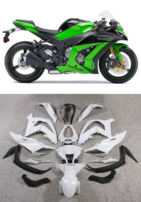 Fairings Plastics Kawasaki ZX10R Ninja Green ZX10R Racing (2011-2014)