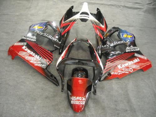 Fairings Plastics Kawasaki ZX6R 636 Red Black Play Station Racing (2000-2002)
