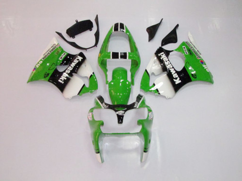 Fairings Plastics Kawasaki ZX6R 636 Green White Black Ninja Racing (2000-2002)
