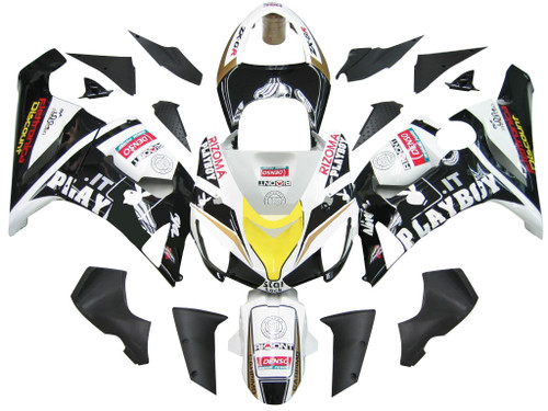 Fairings Kawasaki ZX6R 636 Black White Yellow Playboy  Racing  (2005-2006)