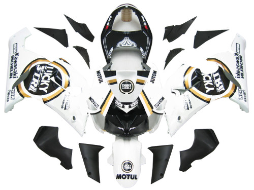 Fairings Kawasaki ZX6R 636 Black White Lucky Strike Ninja Racing  (2005-2006)