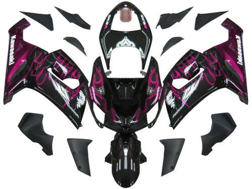 Fairings Kawasaki ZX6R 636 Black & Purple Flame Ninja Racing  (2005-2006)