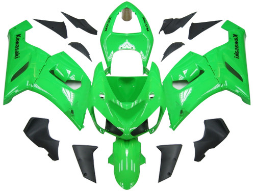 Fairings Kawasaki ZX6R ZX636 Green Ninja Racing  (2005-2006)
